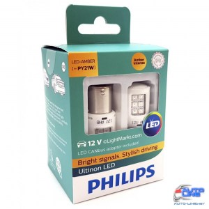 Лампы светодиодные Philips PY21W LED 12V + Smart Canbus 11498ULAX2 White