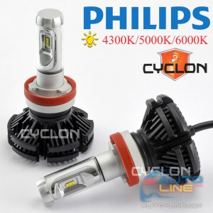 Cyclone LED H11 6000K 6000Lm type 7 v2 — светодиодная лампа H11 3000K/5000K/8000K, Philips ZES LED