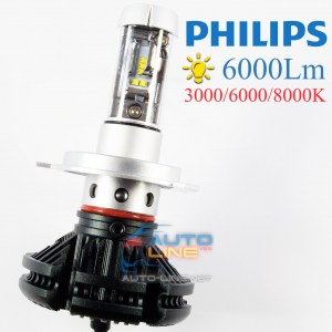 Cyclon LED H4 Hi/Low 6000K 6000Lm Type 7 v2 — светодиодная лампа H4 3000K/6000K/8000K, Philips ZES LED